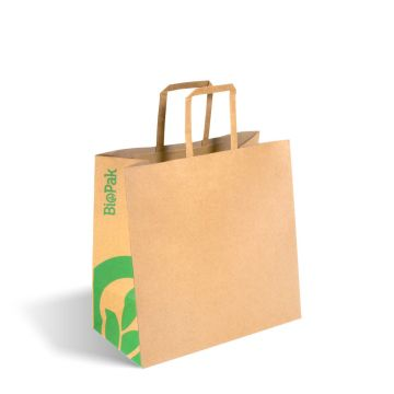 Small Flat Handle Kraft Paper Bags