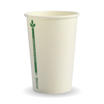 320ml / 10oz (80mm) White Green Line Single Wall BioCup