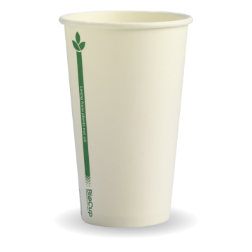 350ml / 12oz (80mm) White Green Line Single WallBioCup