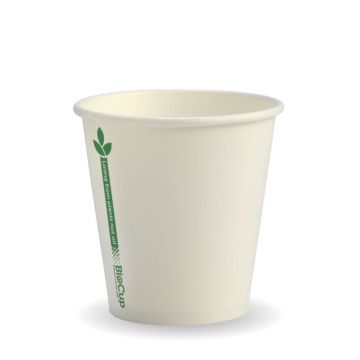 230ml / 6oz (80mm) White Green Line Single Wall BioCup