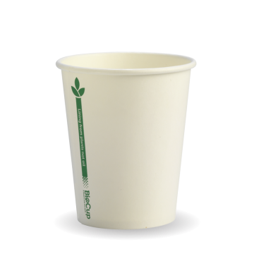 280ml / 8oz (80mm) White Green Line Single Wall BioCup