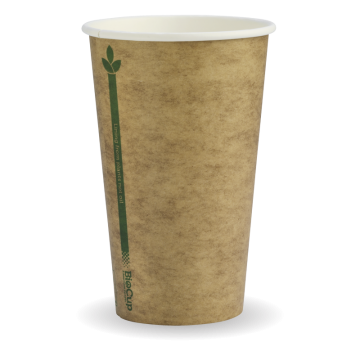 350ml / 12oz (80mm) Kraft Green Line SingleWall BioCup