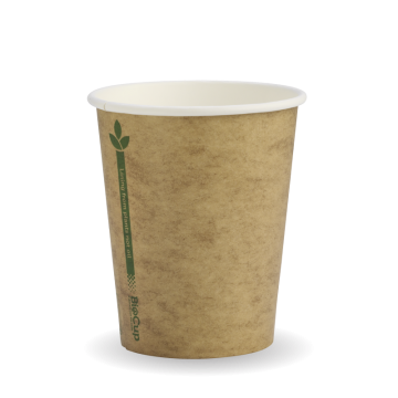 280ml / 8oz (80mm) Kraft Green Line Single Wall BioCup