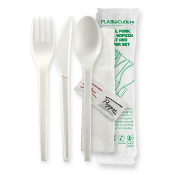 16.5cm (6.5) Bioplastic Knife, Fork, Spoon, Napkin, Salt & Pepper Set