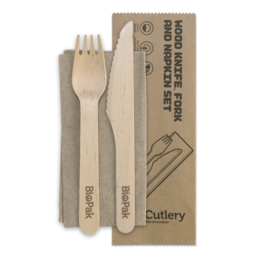 16cm Wood Knife, Fork & Napkin Set