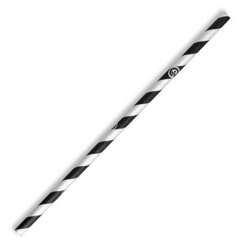 6mm Regular Black Stripe BioStraw