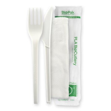 """16.5cm / 6.5"""" PLA Knife, Fork & Napkin Set"""