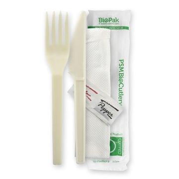 """15cm / 6"""" PSM Knife, Fork, Napkin, Salt & Pepper Set"""